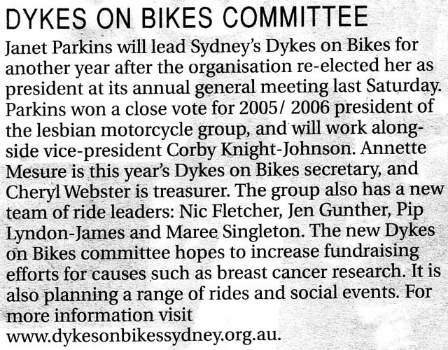 Dykes on Bikes Committee